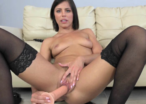Adriana makes herself cum with a huge toy